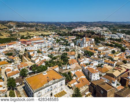 Aerial View Of Silves With Moorish Castle And Historic Cathedral, Portugal