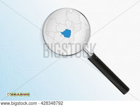 Magnifier With Map Of Zimbabwe On Abstract Topographic Background. Vector Map.