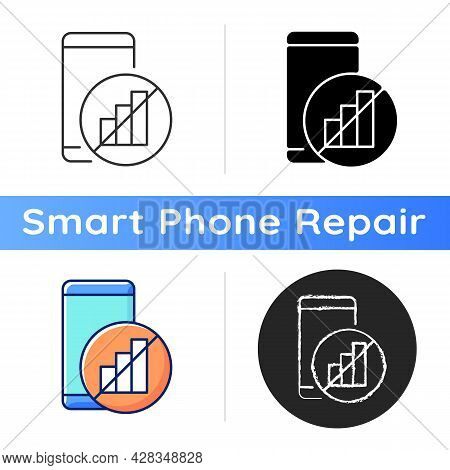 No Signal Icon. Mobile Phone And Signal Bars Indicator. Network Disconnection. Dial Problem. Can Not