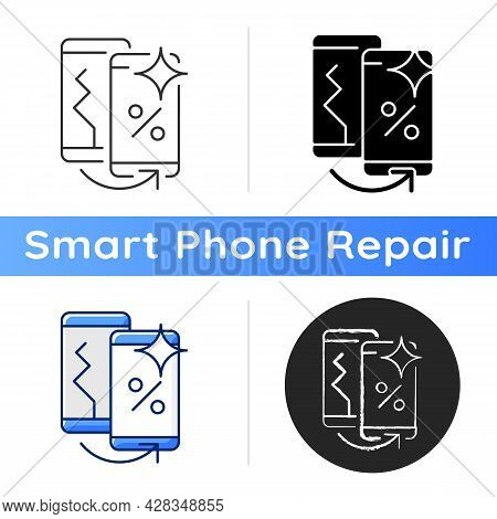 Old Phone Replacement Icon. Old Malfunction Device Return. Mobile Phone Exchange. Damaged Telephone