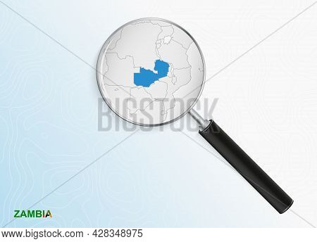 Magnifier With Map Of Zambia On Abstract Topographic Background. Vector Map.