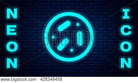Glowing Neon Petri Dish With Bacteria Icon Isolated On Brick Wall Background. Vector