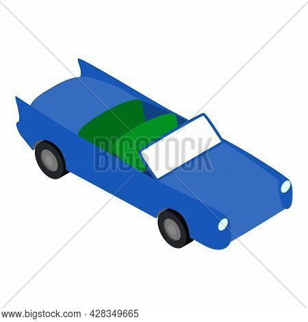 Cabriolet Icon Isometric Vector. Blue Roofless Cabriolet Car. Convertible Car, Transport, Automobile