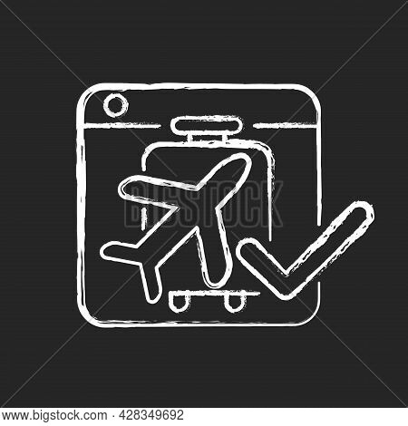 Online Booking Systems Chalk White Icon On Dark Background. Self-booking And Paying Through Website.