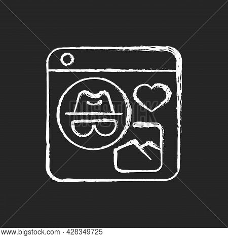 Anonymous Social Media Chalk White Icon On Dark Background. Interacting With People Anonymously. Com
