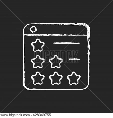 Consumer Review Networks Chalk White Icon On Dark Background. Customer Feedback For Businesses. Revi