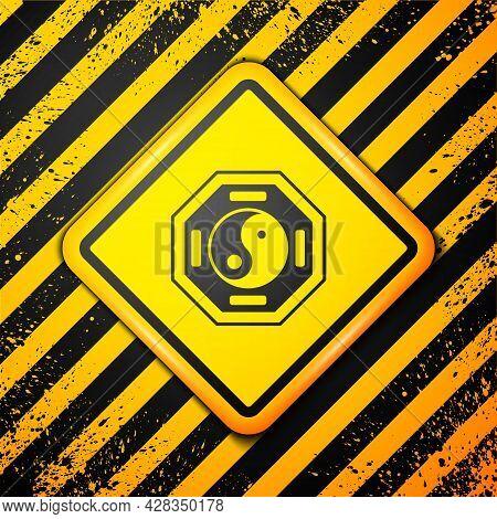 Black Yin Yang Symbol Of Harmony And Balance Icon Isolated On Yellow Background. Warning Sign. Vecto