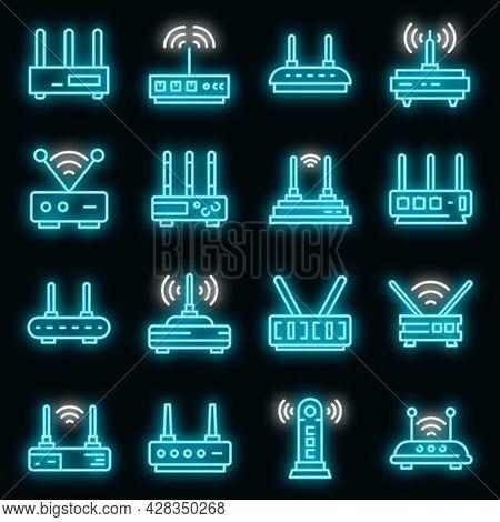 Modem Icons Set. Outline Set Of Modem Vector Icons Neon Color On Black