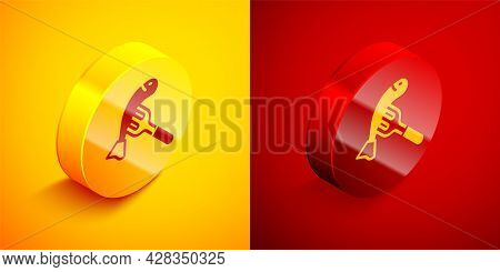 Isometric Served Fish On A Plate Icon Isolated On Orange And Red Background. Circle Button. Vector