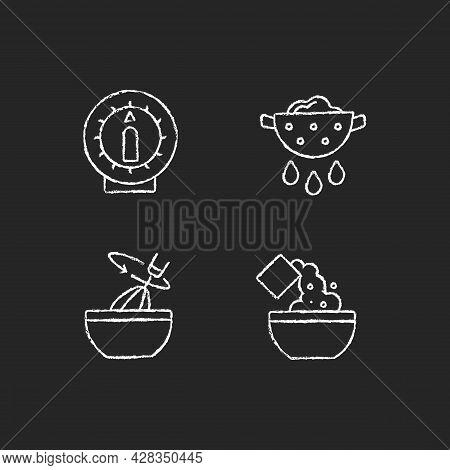 Food Preparation Chalk White Icons Set On Dark Background. Kitchen Timer. Drain Excess Water Or Oil.