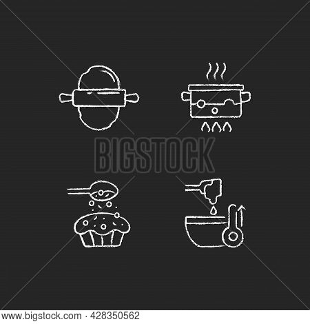 Cookery Instructions Chalk White Icons Set On Dark Background. Roll Out Dough. Boiling Water In Pot.