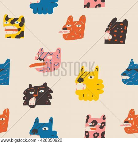 Lions, Tigers And Cheetahs Funny Characters Seamless Pattern.