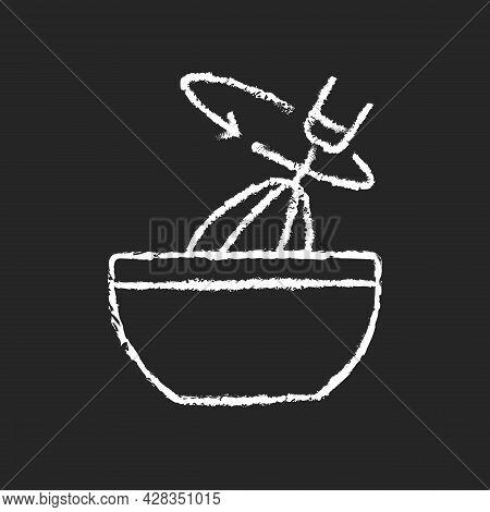 Stir Cooking Ingredient Chalk White Icon On Dark Background. Whisking In Bowl As Recipe Step. Whippe