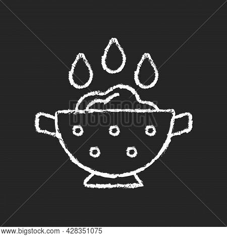 Rinse Cooking Ingredient Chalk White Icon On Dark Background. Wash Rice On Bowl With Holes. Soaking