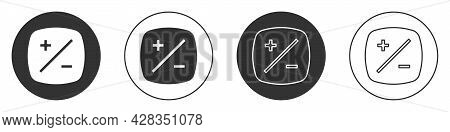Black Exposure Compensation Icon Isolated On White Background. Circle Button. Vector