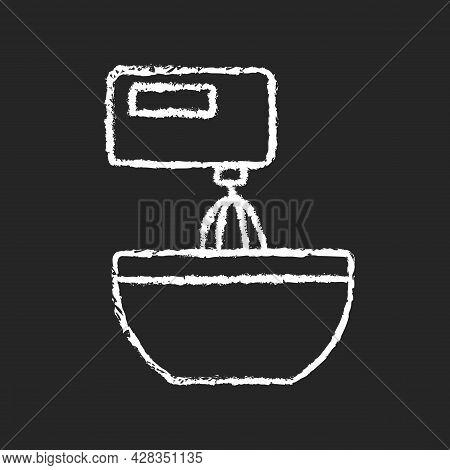 Mixer Chalk White Icon On Dark Background. Beating Mixture Step In Cooking Instruction. Stir Ingredi
