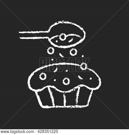 Sprinkle For Baking Chalk White Icon On Dark Background. Pouring Topping From Spoon On Cupcake. Dess