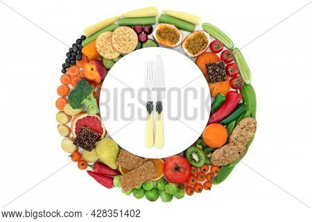 Healthy high fibre food for fitness and vitality concept. Vegan foods high in protein, anthocyanins, antioxidants, smart carbs, vitamins, minerals. Flat lay. Top view.
