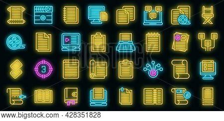 Scenario Icons Set. Outline Set Of Scenario Vector Icons Neon Color On Black