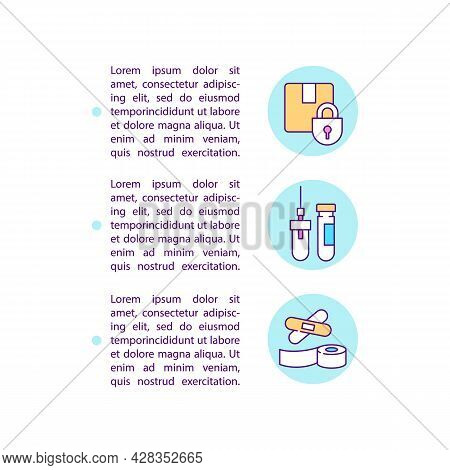 Humanitarian Aid Stuff Concept Line Icons With Text. Ppt Page Vector Template With Copy Space. Broch
