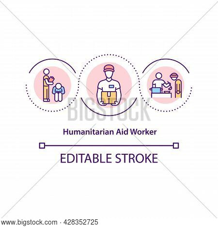 Humanitarian Aid Worker Concept Icon. Medical Supplies Donation, Sending And Hosting Volunteer Organ