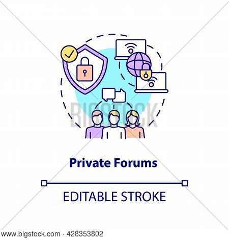 Private Forum Concept Icon. Secure Chat. Closed Communication Channel. Messaging Software Abstract I