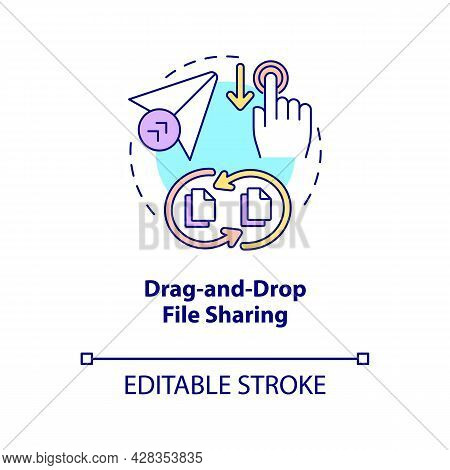 Drag And Drop File Sharing Concept Icon. Digital Data Transformations Service. Messaging Software Ab