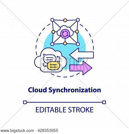Cloud Synchronization Concept Icon. Files Backup Online Service. Data Storage. Messaging Software Ab