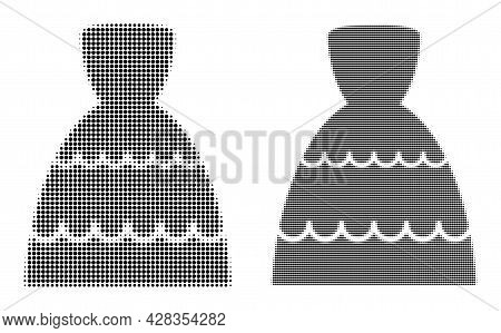 Dot Halftone Bride Dress Icon. Vector Halftone Pattern Of Bride Dress Icon Made Of Circle Pixels.