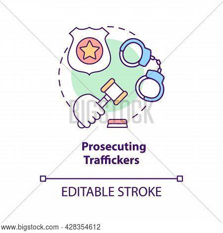 Prosecuting Traffickers Concept Icon. Human Traffic Crime Investigation Abstract Idea Thin Line Illu