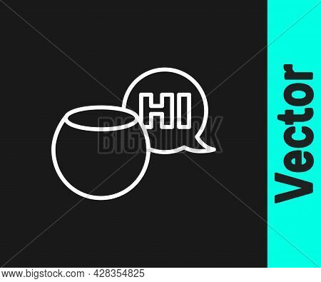 White Line Voice Assistant Icon Isolated On Black Background. Voice Control User Interface Smart Spe