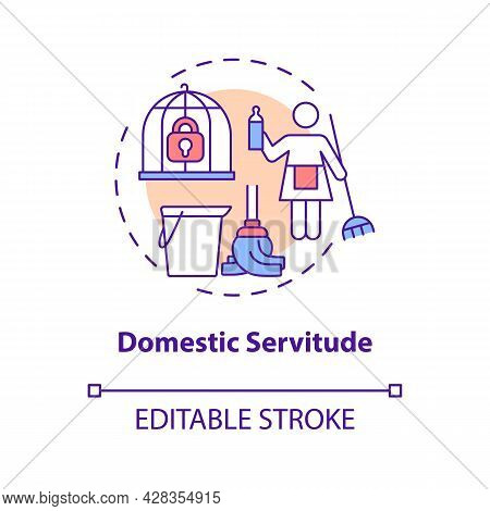 Domestic Servitude Concept Icon. Domestic Slavery Abstract Idea Thin Line Illustration. Forced Clean