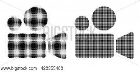 Pixel Halftone Cinema Camera Icon. Vector Halftone Pattern Of Cinema Camera Icon Created Of Circle P