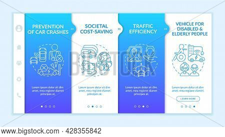 Prevention Car Crashes Onboarding Vector Template. Responsive Mobile Website With Icons. Web Page Wa