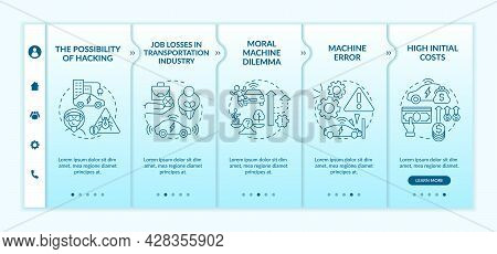 Autonomous Vehicles Technical Errors Onboarding Vector Template. Responsive Mobile Website With Icon