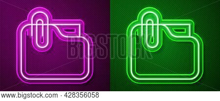 Glowing Neon Line Document Folder With Paper Clip Icon Isolated On Purple And Green Background. Acco