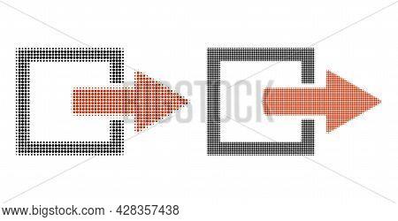 Dot Halftone Export Arrow Icon. Vector Halftone Concept Of Export Arrow Icon Done Of Round Pixels.