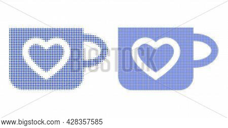 Pixelated Halftone Favourite Cup Icon. Vector Halftone Composition Of Favourite Cup Icon Done Of Rou