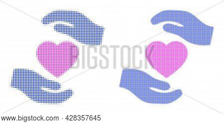 Dotted Halftone Favourite Heart Care Hands Icon. Vector Halftone Collage Of Favourite Heart Care Han