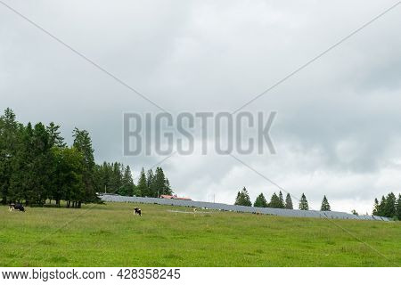 Big Solar Energy Plant On Mont Soleil In The Swiss Jura Mountains
