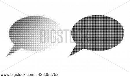 Dot Halftone Forum Message Icon. Vector Halftone Collage Of Forum Message Icon Created Of Round Pixe
