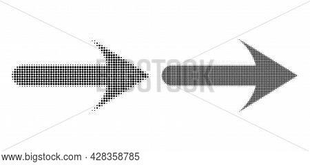 Dotted Halftone Forward Arrow Icon. Vector Halftone Composition Of Forward Arrow Icon Made From Circ