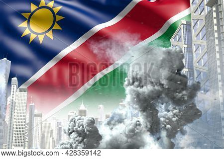 Large Smoke Pillar In Abstract City - Concept Of Industrial Explosion Or Terrorist Act On Namibia Fl
