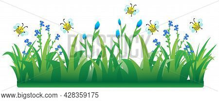 Cute Bees Flying On Flowers And Grass, Banner Cartoon Vector Illustration