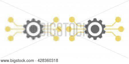Pixel Halftone Hitech Gear Icon. Vector Halftone Pattern Of Hitech Gear Icon Designed Of Spheric Poi