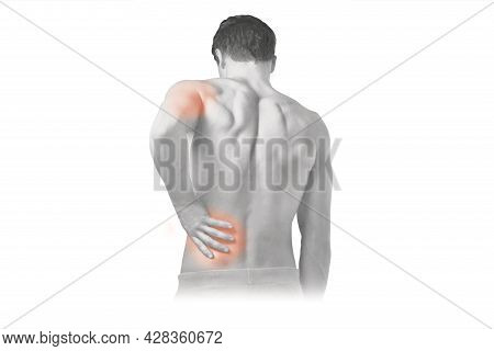 Backache. Back Pain Concept, Man Suffering From Backache, Red Inflamed Zone. Pain In The Man's Body