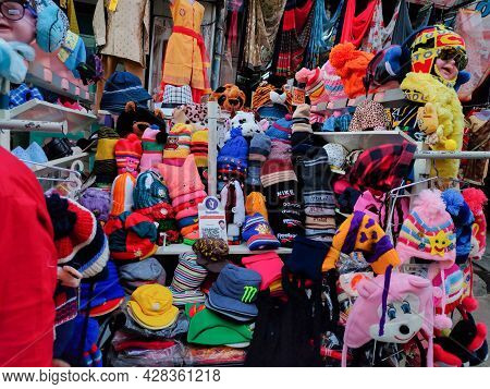 Kolhapur, Maharashtra, India- December 3rd 2020;stock Photo Of Colorful Woolen Kids Sweater , Cap An