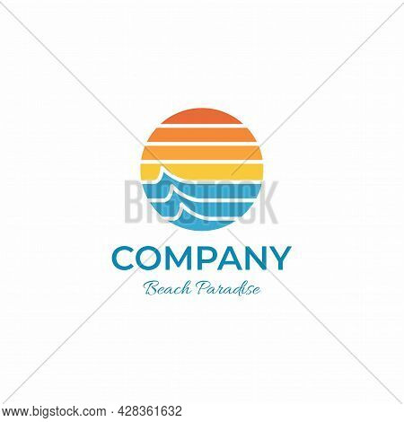 Circle Tropical Paradise Beach Logo Company With Modern Style And Sunrise Vibes Perfect For Hotel An