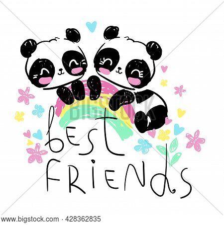 Hand Drawn Cute Panda Childlike Illustration, Children Print Design Vector Best Friends Letters