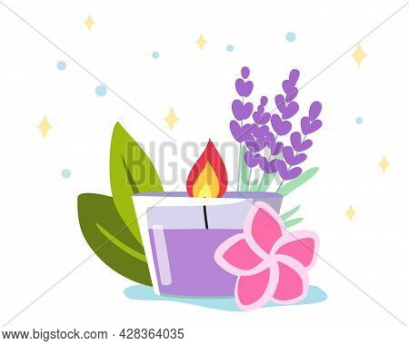 Scented Candle Decoration Burning Candle And Branches Of Lavender Hygge And Aromatherapy Concept Vec